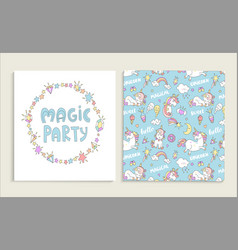 card for magic party with unicorns vector image vector image