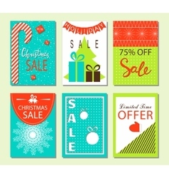 Christmas sale and discount templates Set of vector image vector image