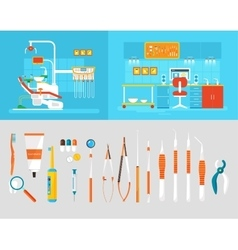 Dental office PC big set dentists instruments vector image