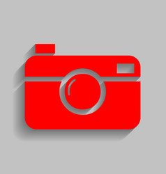 Digital photo camera sign red icon with vector