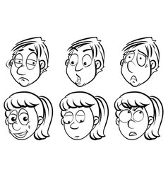 facial expressions on men and women vector image vector image