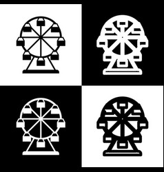 Ferris wheel sign black and white icons vector