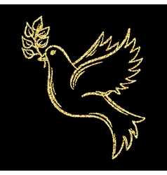 Golden glitter dove of peace on background vector