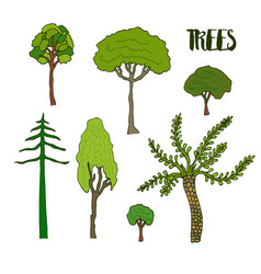Hand sketch trees set collection of tree vector