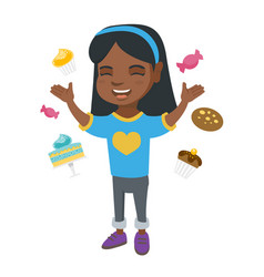 Happy african girl standing among lots of sweets vector