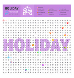Holyday thematic collection of line icons vector