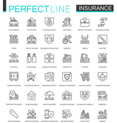 insurance thin line web icons set car house vector image vector image
