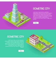 Isometric City Buildings Web Banners Set vector image vector image