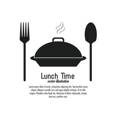 lunch time design menu icon flat vector image vector image