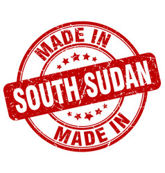 Made in south sudan red grunge round stamp vector