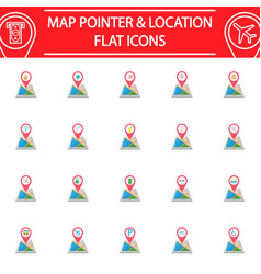 Map pointer flat icon set gps and location vector