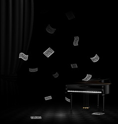 piano and flying note vector image