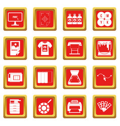 Printing icons set red vector