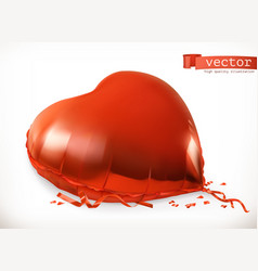 Red heart toy balloon 3d icon vector