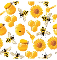 Seamless honey bee pattern vector image
