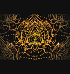 seamless luxury pattern with gold lotus with boho vector image