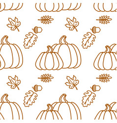 seamless pattern with outline pumkin and leaf vector image vector image