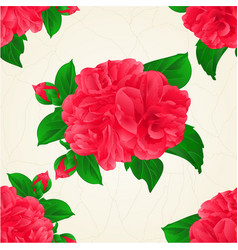 Seamless texture camellia japonica red flowers vector