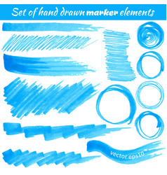 set of hand drawn marker elements vector image vector image