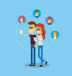 social comunication to people media connection vector image vector image