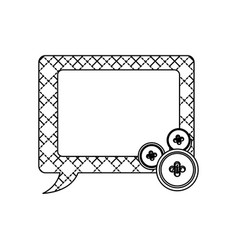Sticker figures square chat bubbles icon vector