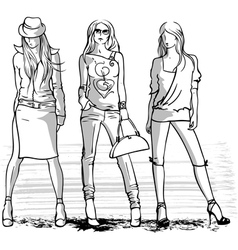 three fashion girls vector image