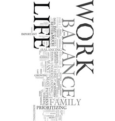Work life balance text word cloud concept vector