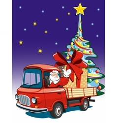 Santa claus delivers gifts on red truck vector