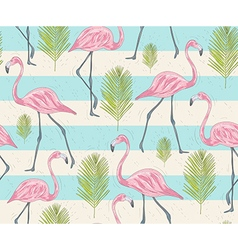 Cute seamless pattern with flamingos and palm vector