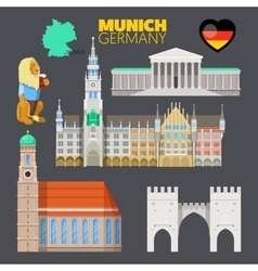 Munich germany travel doodle with architecture vector