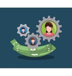 team gear business money dollar vector image
