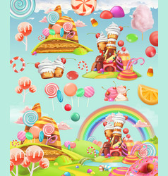 Sweet candy land cartoon game background 3d vector