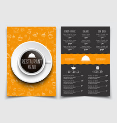 templates 2 a4 pages menu with drawings of hands vector image