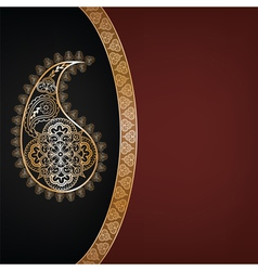 Dark background with golden paisley vector