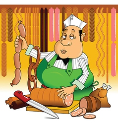 Butcher with meat vector