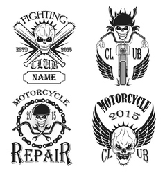 Set logos motorcycle labels badges and design el vector