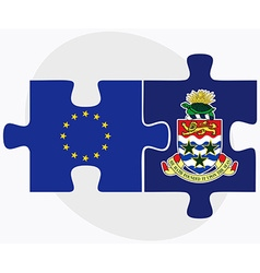European union and cayman islands flags in puzzle vector