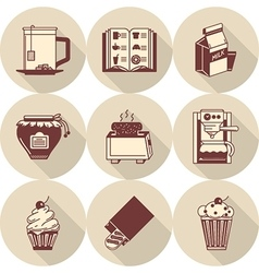 Brown icons for morning menu vector