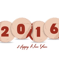 Happy new year 2016 with stickers retro vector