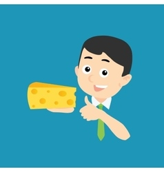 Happy man with cheese vector