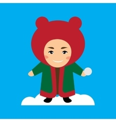 Flat icon on blue background child playing snow vector