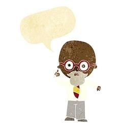 Cartoon professor with speech bubble vector