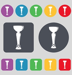 Trophy icon sign a set of 12 colored buttons flat vector