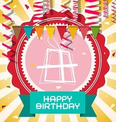 Happy Birthday - Retro Card with Flags - Confetti vector image