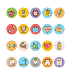 Fitness and health colored icons 2 vector