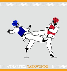 Athlete Taekwondo fighters vector image