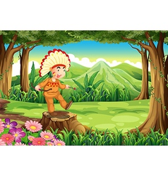 An indian at the forest vector