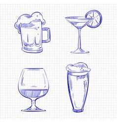 Ballpoint pen sketch drinks vector