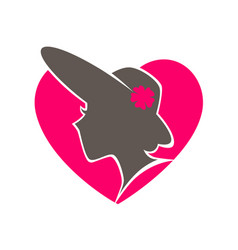 Beauty salon emblem with woman in hat inside heart vector