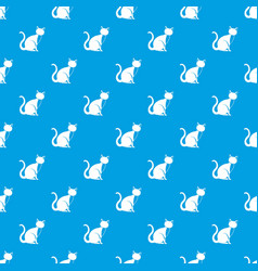 black cat pattern seamless blue vector image vector image